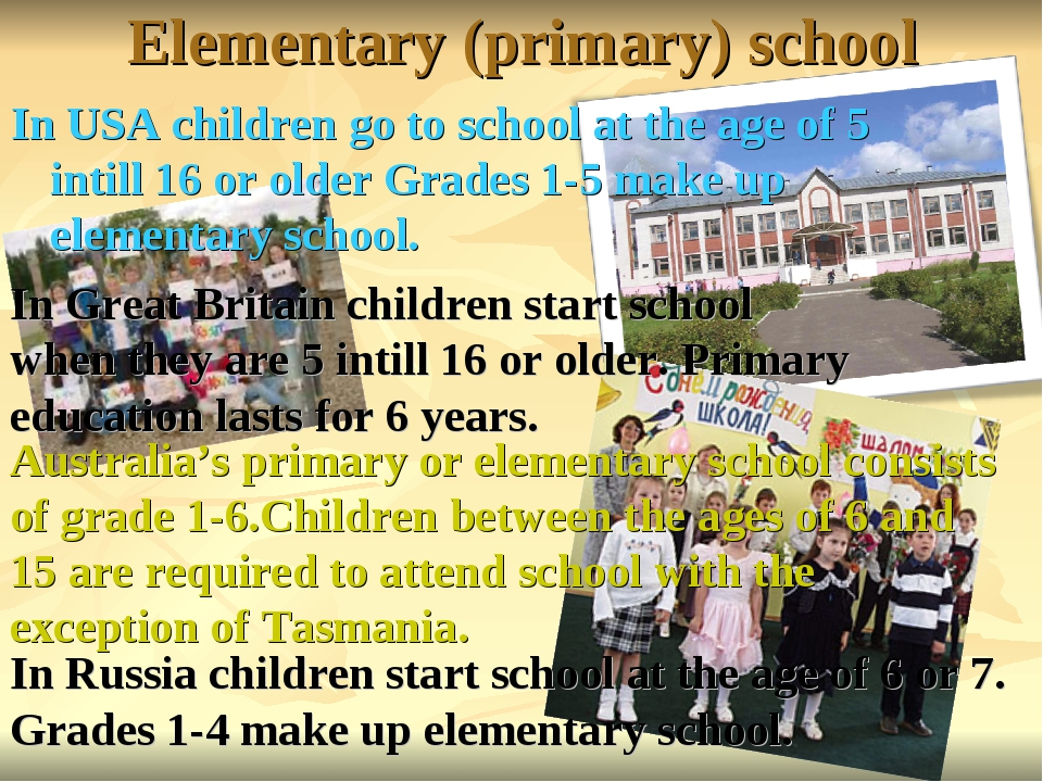 Elementary (primary) school In USA children go to school at the age of 5 inti...