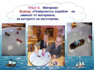 Опыт 3. Материал Вывод: «Плавучесть» корабля не зависит от материала, из кот