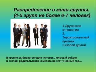 Распределение в мини-группы. (4-5 групп не более 6-7 человек) 1.Дружеские отн