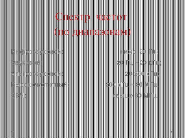 Спектр частот (по диапазонам) Инфразвуковой: ниже 20 Гц; Звуковой: 20 Гц – 20...