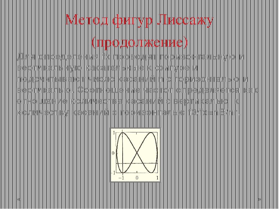 Метод фигур Лиссажу (продолжение) Для определения fx проводят горизонтальную...