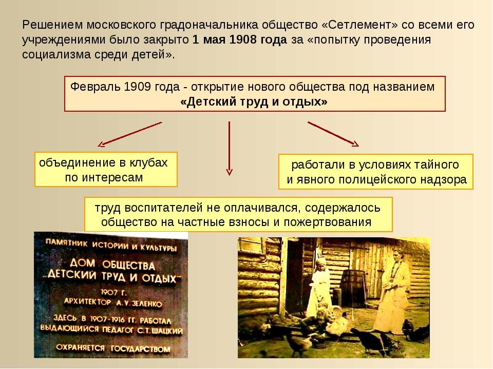 Решением московского градоначальника общество «Сетлемент» со всеми его учрежд...