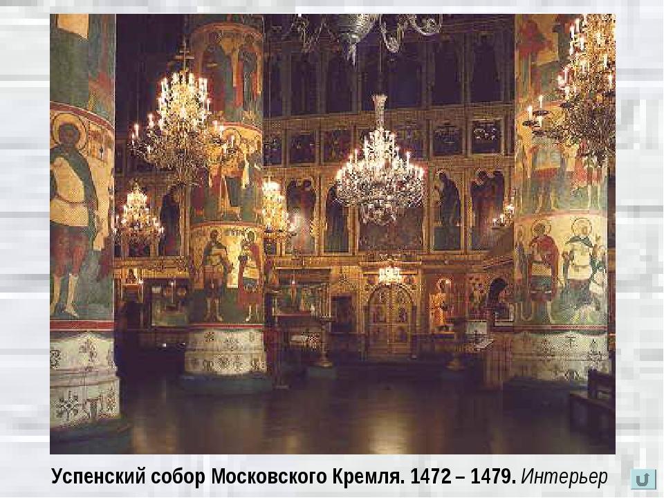 Успенский собор Московского Кремля. 1472 – 1479. Интерьер