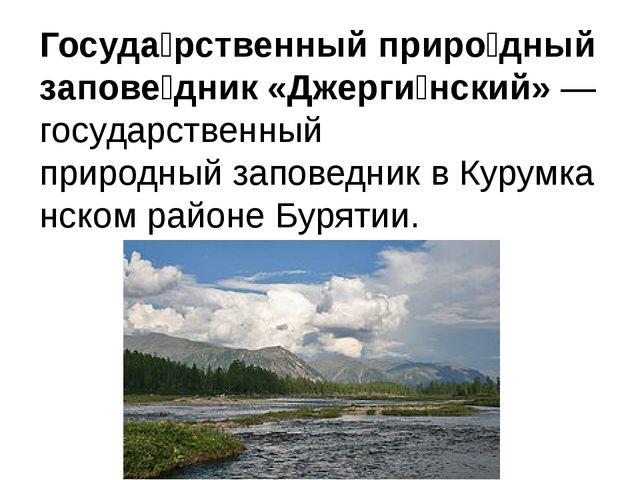 Госуда́рственный приро́дный запове́дник «Джерги́нский»— государственный прир...