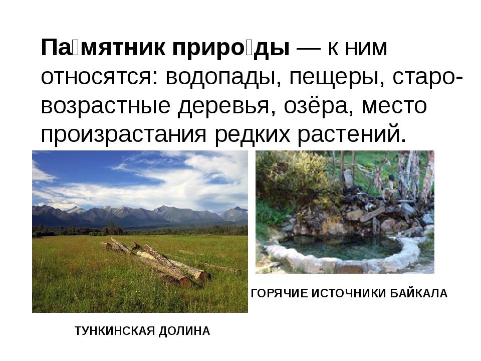 Па́мятник приро́ды—к ним относятся: водопады, пещеры, старо-возрастные дере...