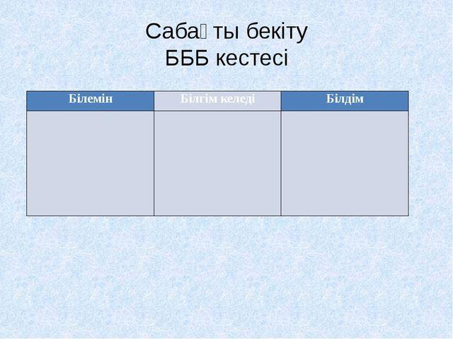 Сабақты бекіту БББ кестесі Білемін Білгімкеледі Білдім