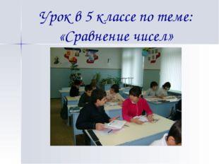 Урок в 5 классе по теме: «Сравнение чисел»