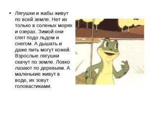 Лягушки и жабы живут по всей земле. Нет их только в соленых морях и озерах. З