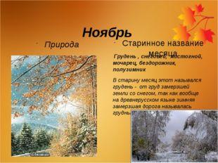 Ноябрь Природа Старинное название месяца Грудень , снеговей, листогной, моча
