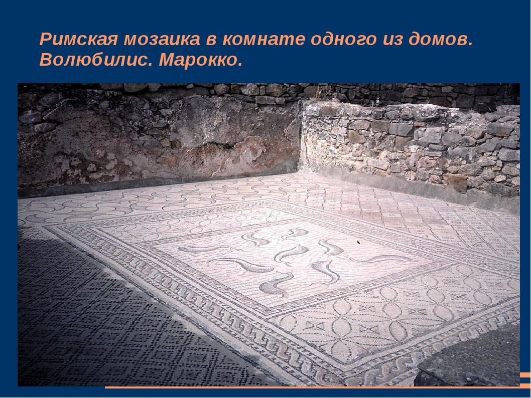 Римская мозаика в комнате одного из домов. Волюбилис. Марокко.