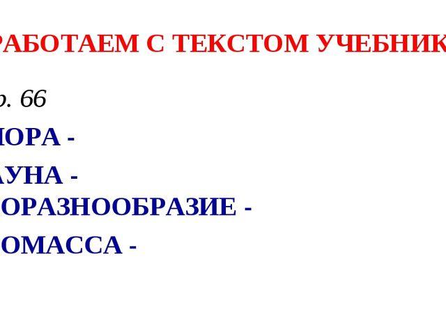 РАБОТАЕМ С ТЕКСТОМ УЧЕБНИКА стр. 66 ФЛОРА - ФАУНА - БИОРАЗНООБРАЗИЕ - БИОМАСС...