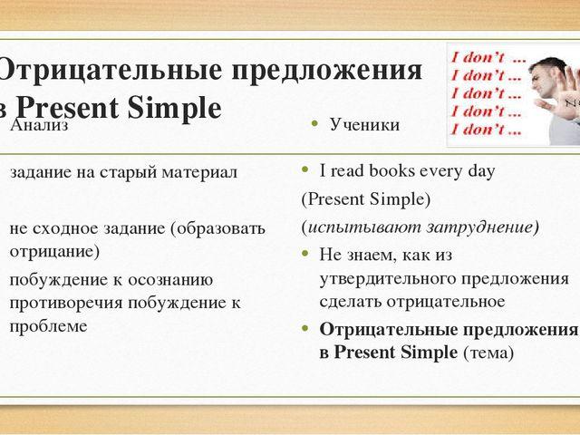 Отрицательные предложения в Present Simple Анализ задание на старый материал...
