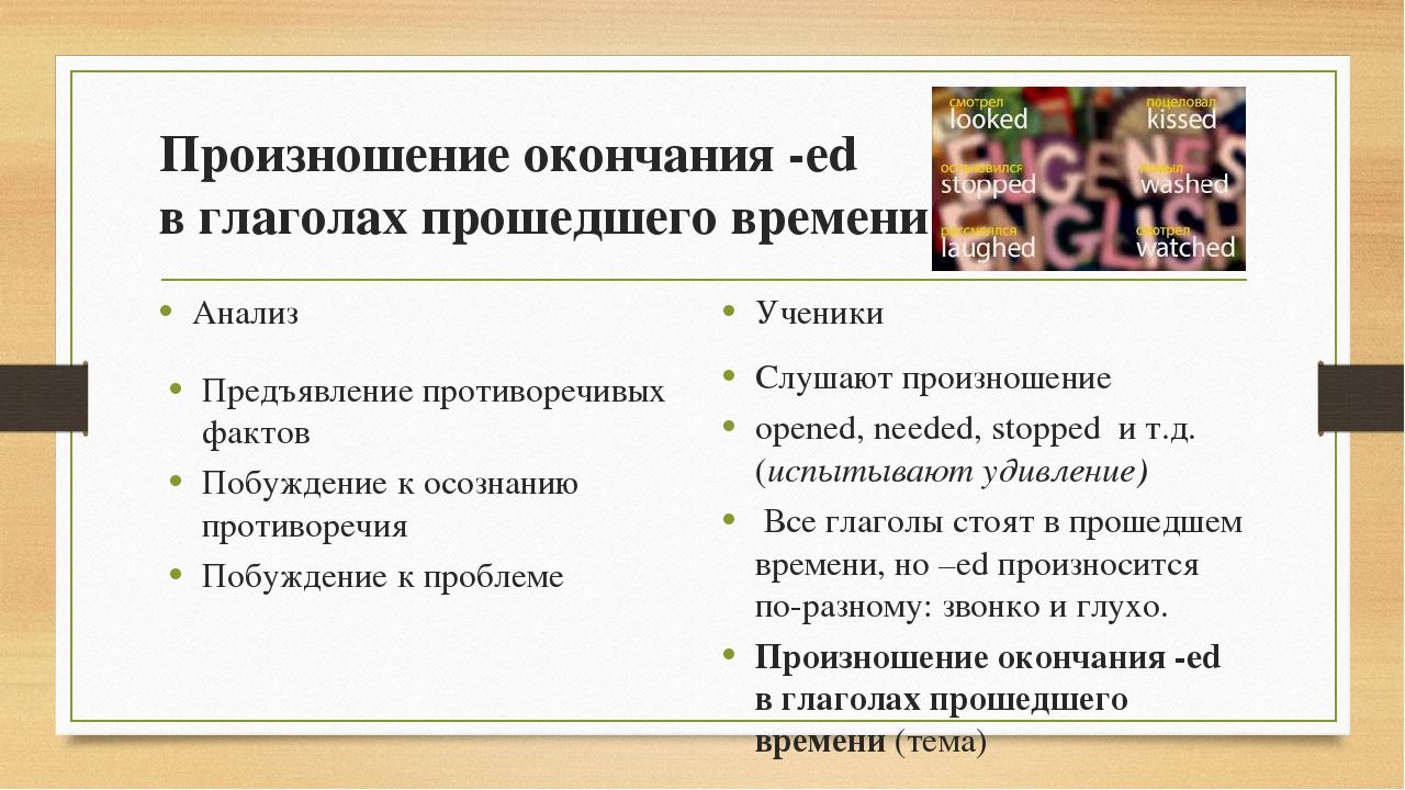 Произношение окончания -ed в глаголах прошедшего времени Анализ Предъявление...