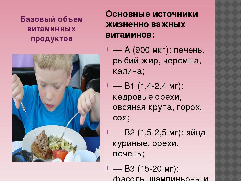 Базовый объем витаминных продуктов Основные источники жизненно важных витамин...