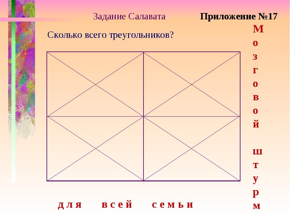 Задание Салавата Сколько всего треугольников? М о з г о в о й ш т у р м д л я...