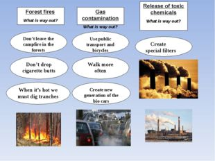 Forest fires What is way out? Gas contamination What is way out? Release of t