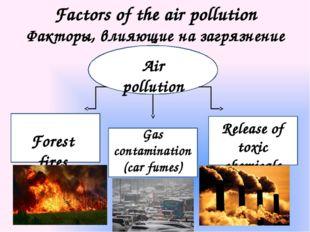 Factors of the air pollution Факторы, влияющие на загрязнение воздуха Air pol