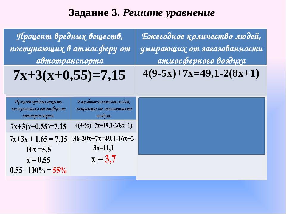 Задание 3. Решите уравнение Процент вредныхвеществ, поступающих в атмосферу о...