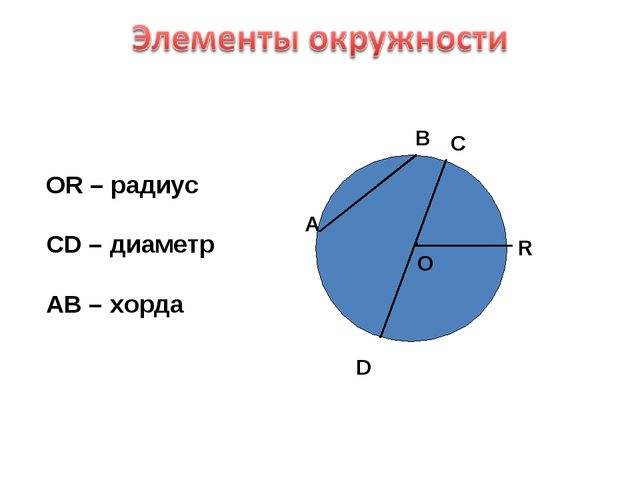. О А В С D R ОR – радиус СD – диаметр AB – хорда