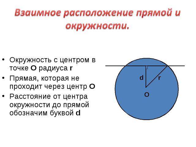 Окружность с центром в точке О радиуса r Прямая, которая не проходит через ц...