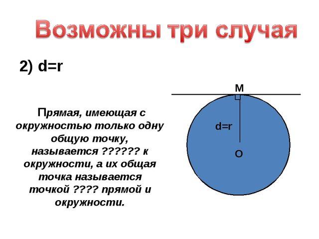2) d=r O d=r M Прямая, имеющая с окружностью только одну общую точку, называе...