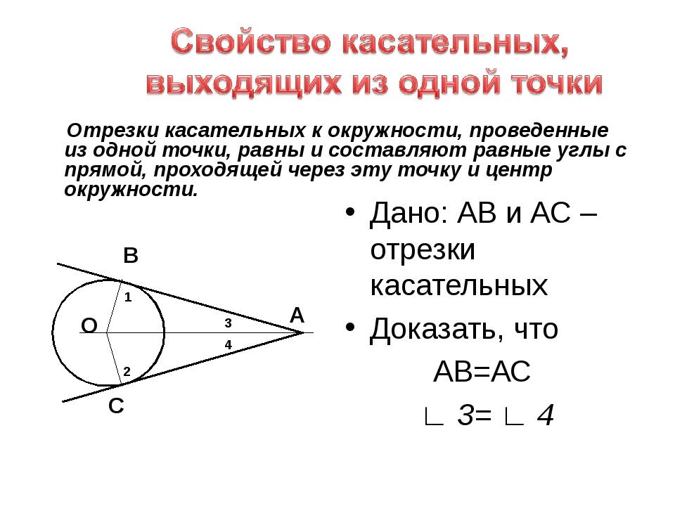 Отрезки касательных к окружности, проведенные из одной точки, равны и состав...
