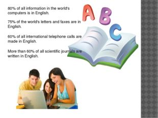 80% of all information in the world's computers is in English. 75% of the wor