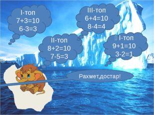 І-топ 7+3=10 6-3=3 ІІ-топ 8+2=10 7-5=3 ІІІ-топ 6+4=10 8-4=4 ҮІ-топ 9+1=10 3-2