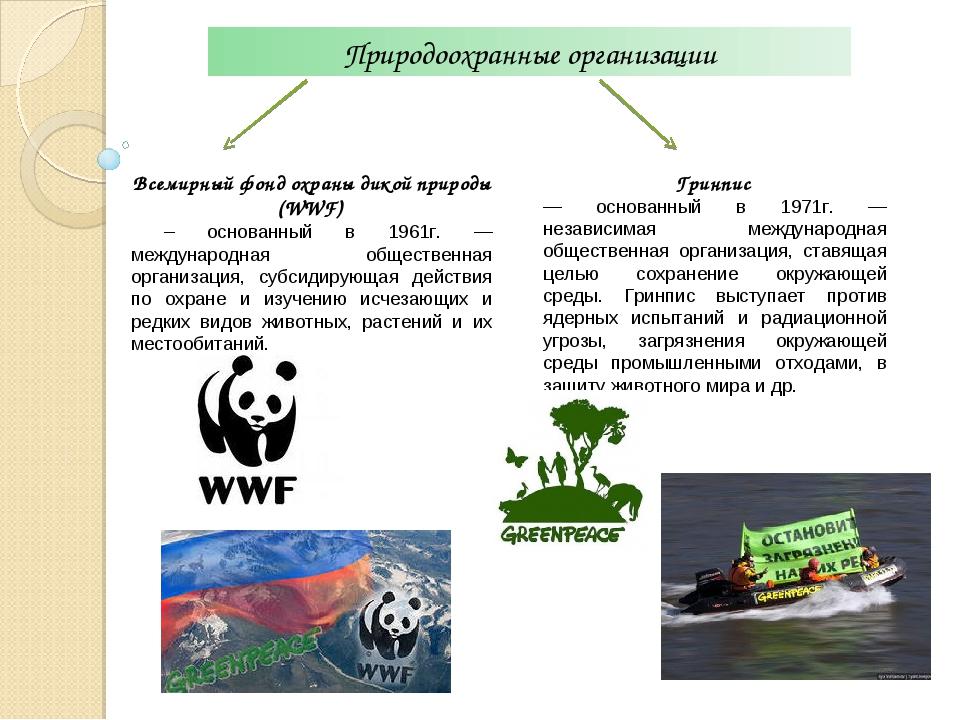 Природоохранные организации Всемирный фонд охраны дикой природы (WWF) – основ...