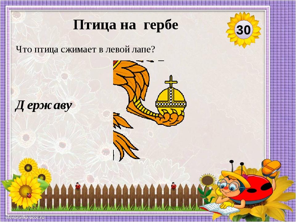 Державу Что птица сжимает в левой лапе? 30 Птица на гербе