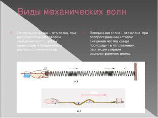 Виды механических волн Продольная волна – это волна, при распространении кото