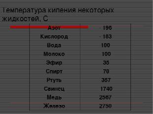 Температура кипения некоторых жидкостей, С Азот - 196 Кислород - 183 Вода