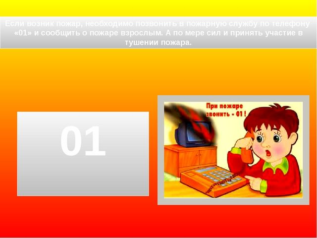 Если возник пожар, необходимо позвонить в пожарную службу по телефону «01» и...