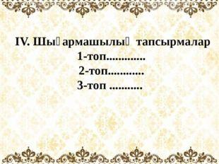 ІV. Шығармашылық тапсырмалар 1-топ............. 2-топ............ 3-топ ....