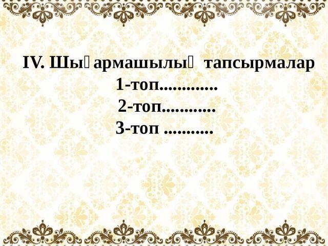 ІV. Шығармашылық тапсырмалар 1-топ............. 2-топ............ 3-топ .......
