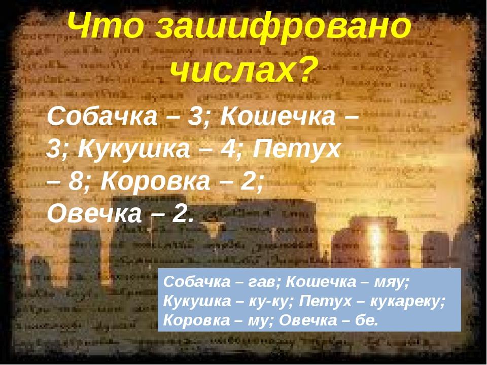 Что зашифровано числах? Собачка – 3; Кошечка – 3; Кукушка – 4; Петух – 8; Ко...