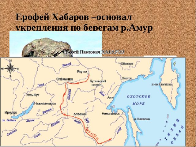 Ерофей Хабаров –основал укрепления по берегам р.Амур