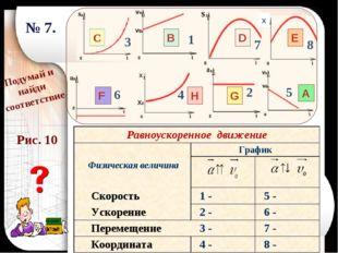 В А С D E F G H Подумай и найди соответствие 1 2 3 6 8 7 4 5 № 7. х Рис. 10