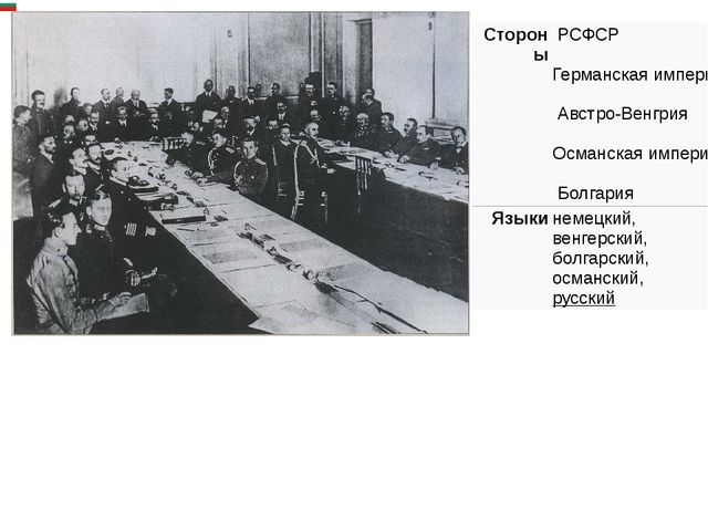Стороны РСФСР Германская империя Австро-Венгрия Османская империя Болгар...