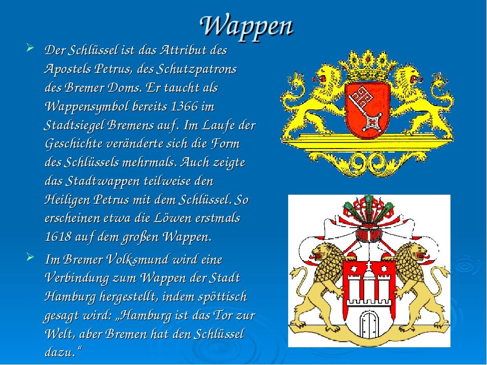Wappen Der Schlüssel ist das Attribut des Apostels Petrus, des Schutzpatrons...