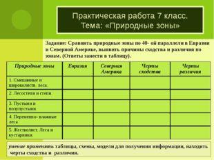 Задание: Сравнить природные зоны по 40- ой параллели в Евразии и Северной Аме