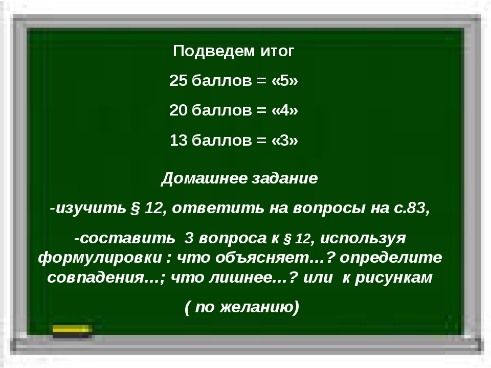 Подведем итог 25 баллов = «5» 20 баллов = «4» 13 баллов = «3» Домашнее задани...