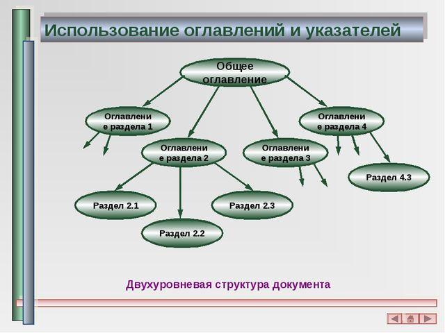 Использование оглавлений и указателей Двухуровневая структура документа
