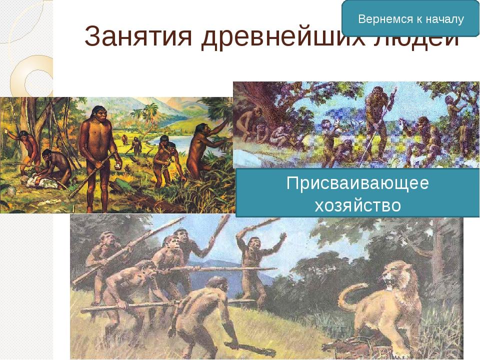 Занятия древнейших людей Присваивающее хозяйство Вернемся к началу
