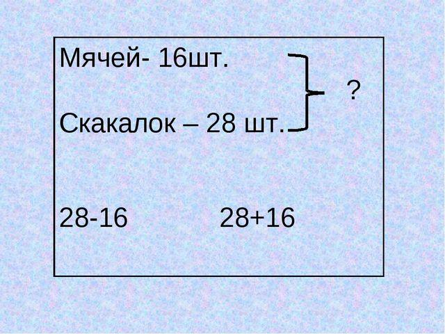 Мячей- 16шт. ? Скакалок – 28 шт. 28-16 28+16