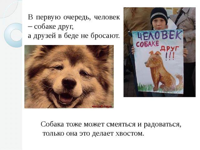 В первую очередь, человек – собаке друг, а друзей в беде не бросают. Собака т...