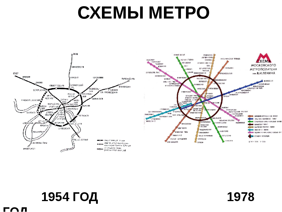 СХЕМЫ МЕТРО 1954 ГОД 1978 ГОД
