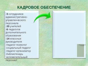 КАДРОВОЕ ОБЕСПЕЧЕНИЕ -5 сотрудников административно- управленческого персонал