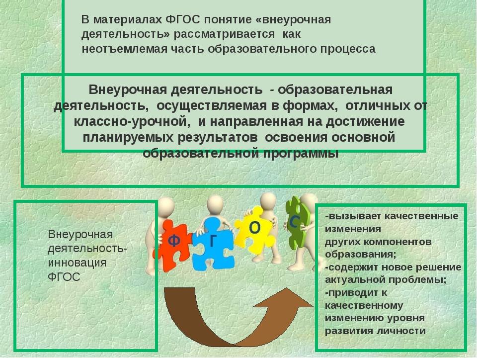 В материалах ФГОС понятие «внеурочная деятельность» рассматривается как неот...