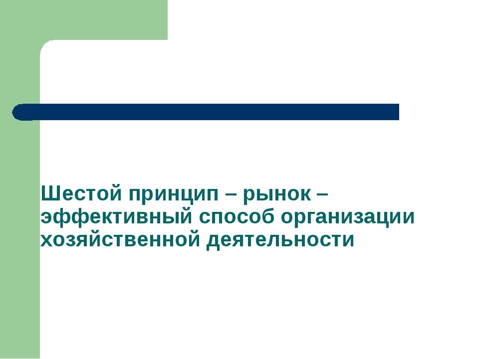 Шестой принцип – рынок – эффективный способ организации хозяйственной деятель...